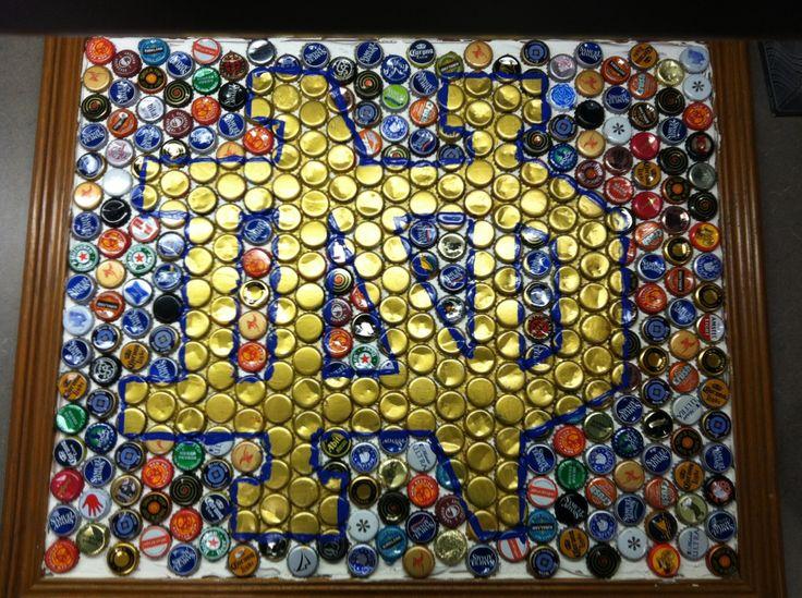 Notre dame logo bottle cap wall art by crystal pistol for Bottle cap wall