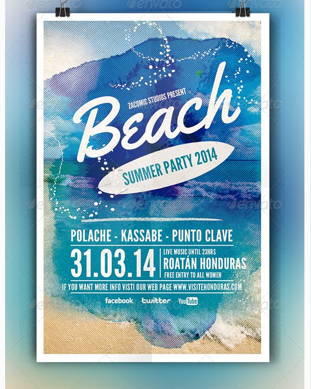 Beach Party Flyer Template - Party Flyer Templates For Clubs Business & Marketing