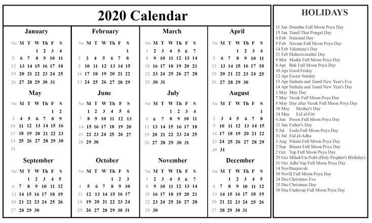Sri Lanka 2020 Printable Calendar | Excel calendar ...
