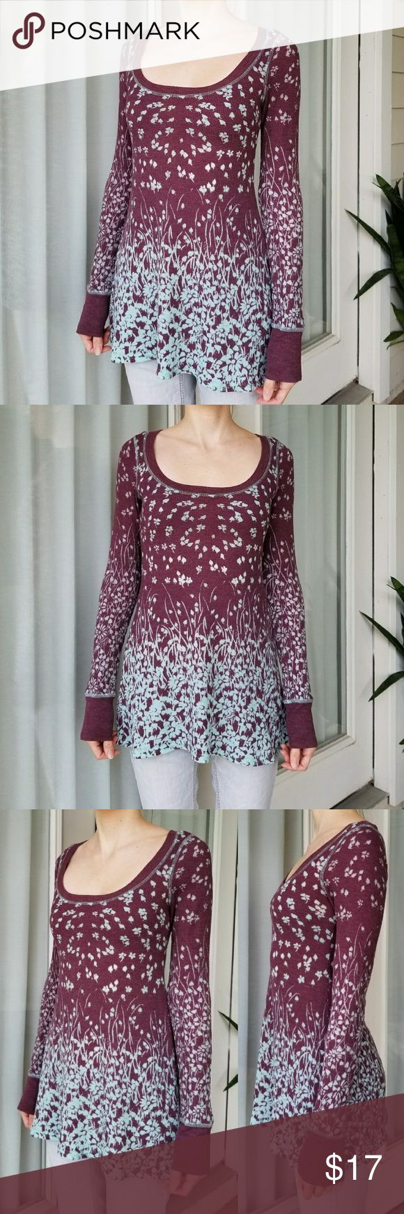 Free People Floral Long Sleeve Top Free People top. Size small. Floral pattern creates a blue and purple ombre effect. Long sleeves. Free People Tops