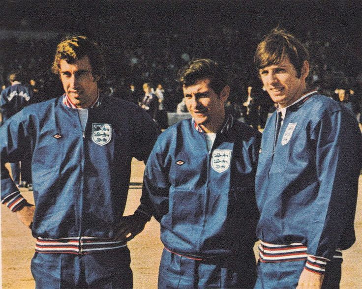 21st April 1971. Tottenham Hotspur trio Martin Chivers, Alan Mullery and Martin Peters pictured prior to England's Nations Cup Qualifier against Greece, at Wembley.