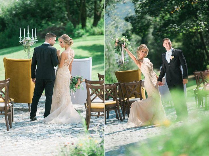 suknia ślubna w kolorze nude, duży bukiet ślubny, garnitur ślubny