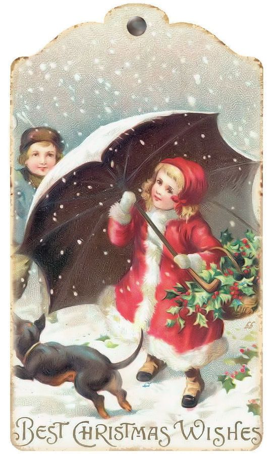 Vintage Girl with Umbrella and Boy with Snowball Christmas Image