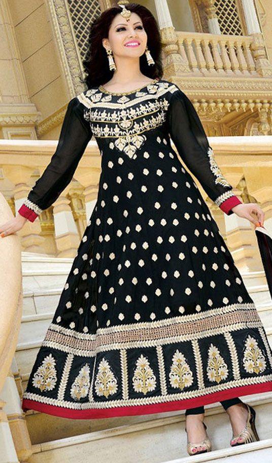 Black Georgette Designer Anarkali Suit 43346