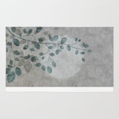 Pale moon mixed media illustration Rug