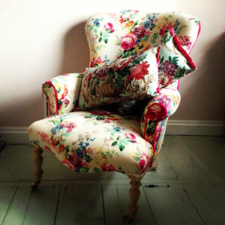 Vintage Floral Armchair @ Sarah Moore Home. Floral ChairFloral FabricVintage  ...