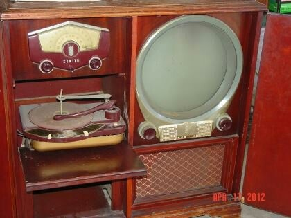 1950s era Entertainment center; television, radio, turntable combo built in cabinet set.