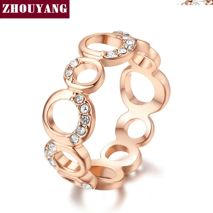 Top Quality  Concise Crystal Ring  Champagne Gold Plated  Austrian Crystals Full Sizes Wholesale ZYR203 ZYR202