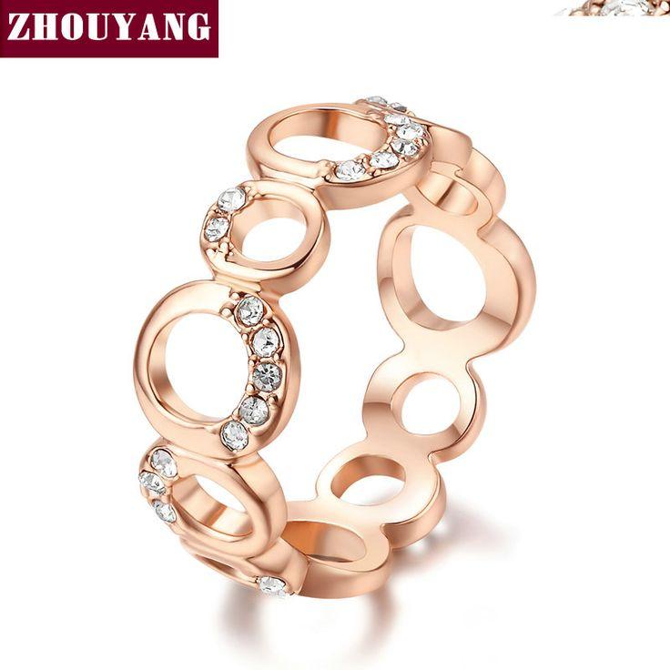 De Calidad superior Conciso Cristal Anillo de Oro de Champán Plateó Cristales Austríacos de Tamaño Natural Al Por Mayor ZYR203 ZYR202