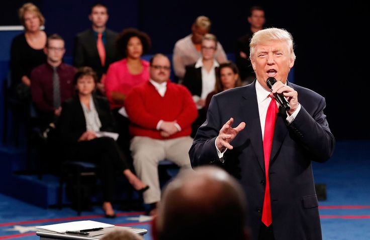 . ST LOUIS, MO - OCTOBER 09:  Republican presidential nominee Donald Trump responds to a question during the town hall debate at Washington University on October 9, 2016 in St Louis, Missouri. This is the second of three presidential debates scheduled prior to the November 8th election.  (Photo by Rick Wilking-Pool/Getty Images)