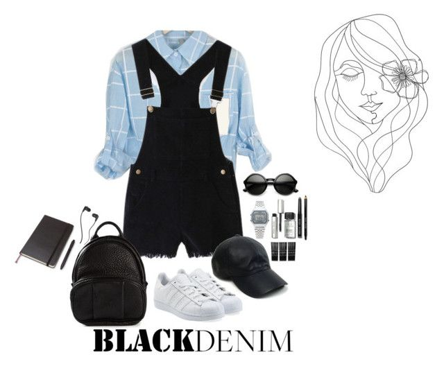 Salopette and shirt, comfy outfit with backpack. by judiette on Polyvore featuring polyvore fashion style WithChic adidas Originals Alexander Wang Casio Vianel Monki Skullcandy Bobbi Brown Cosmetics PBteen Moleskine women's clothing women's fashion women female woman misses juniors