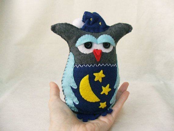 Sleepyhead the sleep lover felt owl  MADE TO ORDER by buligaia, $35.00