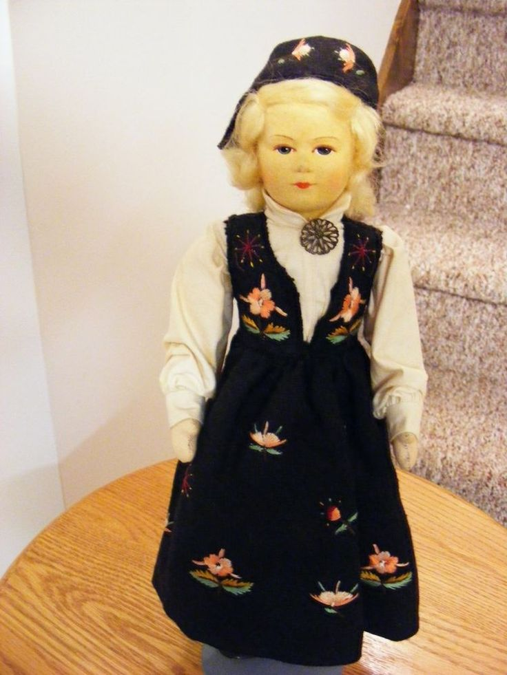 "Rare 12 1/4"" Norway Ronnaug Petterssen Gudbrandsdalen Girl Org Costume Tag 1940"