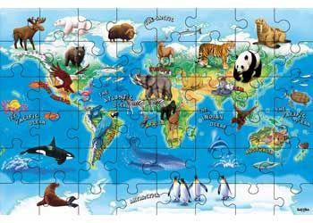 Animals of the World Map Puzzle 48 Piece - Maps