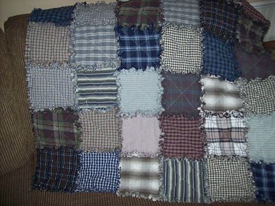 This Rag Quilt is Upcycled from Men's Shirts!! It is 36 by 36 inches!!   The more you wash this quilt the better it will look   $64.99