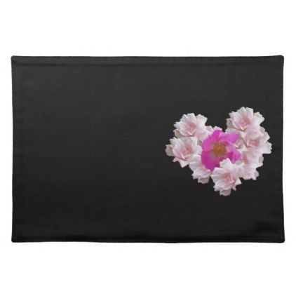 Many Heart Shaped Roses on Black Background Placemat - Saint Valentine's Day gift idea couple love girlfriend boyfriend design