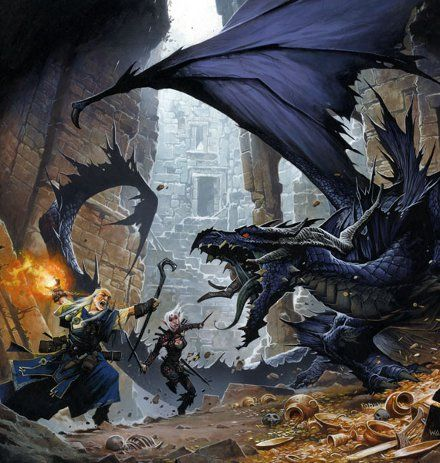 Ozwen the wizard, and the iconic rogue, fight a young dragon.