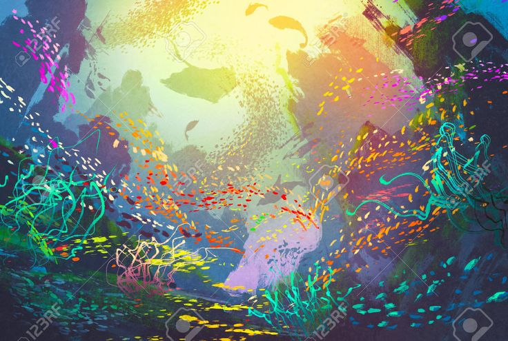 Underwater With Coral Reef And Colorful Fish,illustration Painting ...