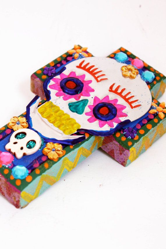 Mexican tin Sugar Skull on wooden cross II // Perfect gift