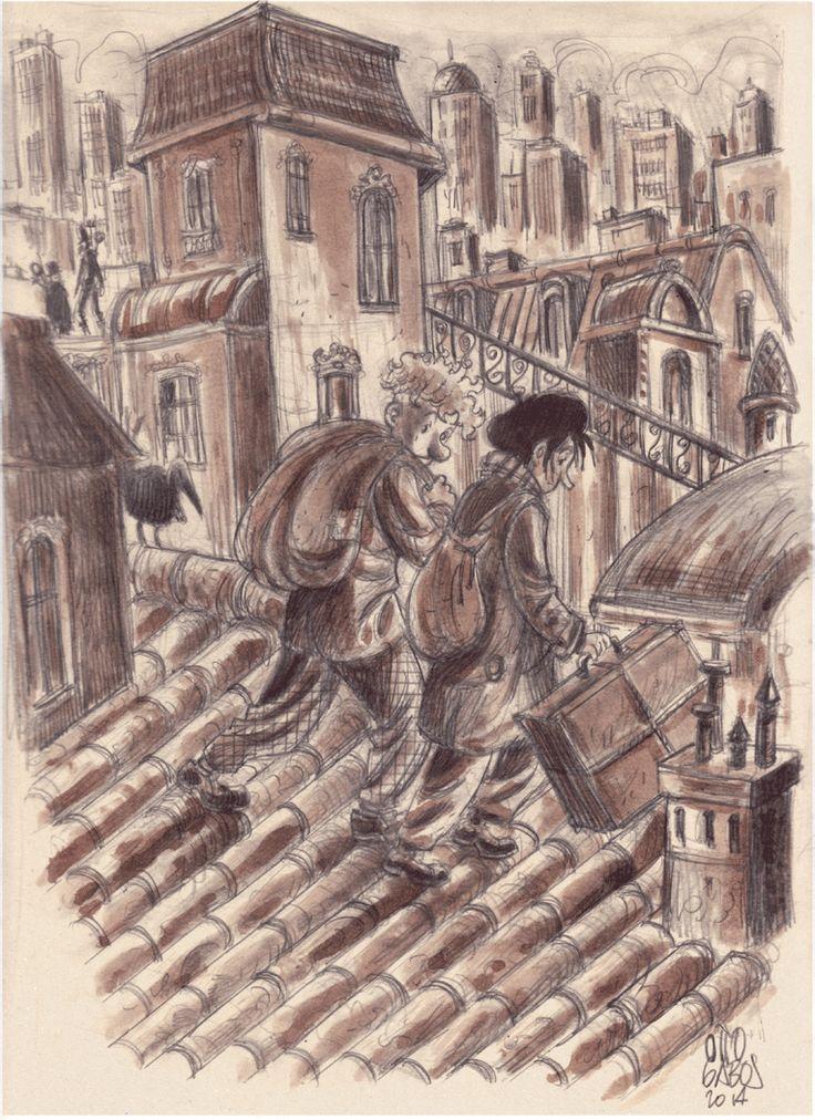 """Rocco e Tobia. illustrazione ispirata alla serie """"Tobia e l'oceano capovolto"""" apparsa su Super G nel novembre e dicembre 2014. L'illustrazione è stata donata all'iniziativa benefica """"Asta per Lollo"""". Matita, acquerello su carta"""