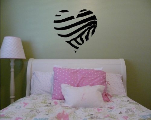 Large Zebra Striped Heart Vinyl Wall Decal By Wall Saying Vinyl Lettering,  Http:/