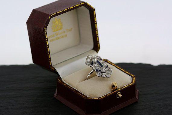 Art Deco Sapphire Ring Antique 1920s Sapphire by AlistirWoodTait