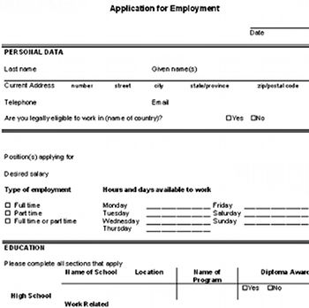 Download a free sample blank employment application so you can practice filling out a job application form before you visit employers. http://www.careerchoiceguide.com/blank-employment-application.html