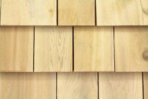 A chalk line helps you keep the bottoms of cedar shingles flush with each other.