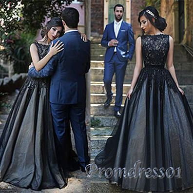 Modest prom dress, ball gown, 2016 elegant black lace organza long prom dress #coniefox #2016prom