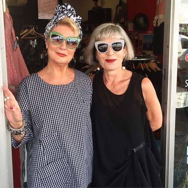 What a pair! Today @thestylishwoman popped in for a play. We had hours of fun styling and taking photographs with her. #exentrix #fashion #bridgeroad #sunnies #fashionover50 #advancedstyle #photoshoot #over50style #agelessfashion #layering #blackandwhite #chicat50plus #uberstyling #japaneseinspired #melbournedesign #independentdesign #boutiqueshopping
