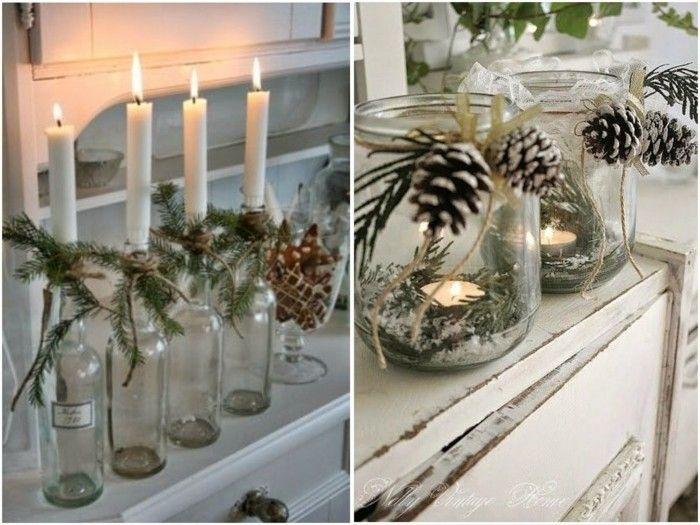 weihnachtsdeko diy ideen kerzen zapfen spitze teelichter bastelideen