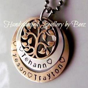 Two Tone Double Washer Gold Tone Family Tree Pendant - Hand Stamped By Beez