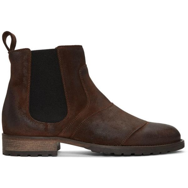 Belstaff Brown Burnished Suede Lancaster Chelsea Boots ($250) ❤ liked on Polyvore featuring men's fashion, men's shoes, men's boots, brown, mens suede chelsea boots, mens brown suede shoes, mens brown suede chelsea boots, mens brown shoes and mens brown chelsea boots
