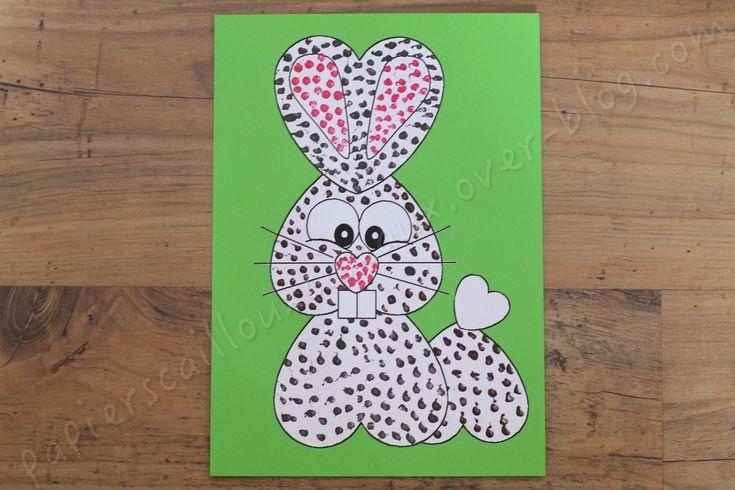 Aujourd'hui je vous propose une activité liée à Pâques (ou pas). Après avoir peint les formes aux cotons-tiges et les avoirs découpées, il faura reconstituer le puzzle du lapin. Que faut-il ? le dessin des coeurs (A imprimer au point n°1) de la peinture...
