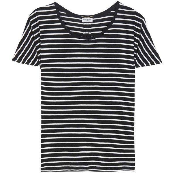 Saint Laurent Striped Silk T-Shirt (12.443.095 IDR) ❤ liked on Polyvore featuring tops, t-shirts, black, yves saint laurent t shirt, striped t shirt, stripe top, striped tee and silk tee