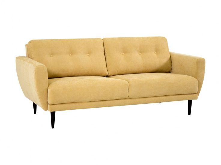 ANZIO 2,5-sits Soffa Gul - Retroflörtande soffa med eleganta proportioner. Perfekt för dig som vill ha generös sittbredd men inte har plats för en fullstor 3-sitssoffa.