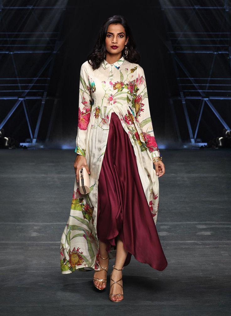 Ritu Kumar Off White Printed Kurta with Pants #RituKumar #OffWhite #FloralPrint #Kurta #Designer