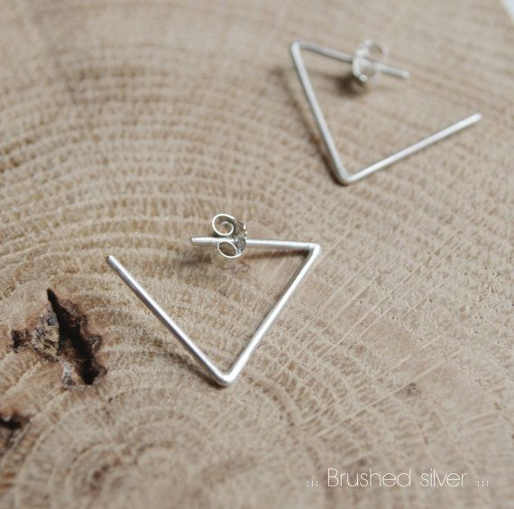 Minimalistic triangle hoop earrings made in sterling silver line and available in two different finish options, brushed silver and black oxidized.  This