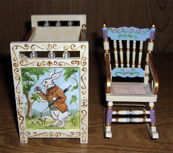 Dollhouse Miniature Nursery Furniture With An Alice In Wonderland Theme