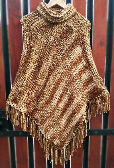 Poncho cafe matizado tejido a palillos (Poncho dos agujas) / #knit #poncho #knitted #poncho  #needles #wear #brownponcho by Suhyza
