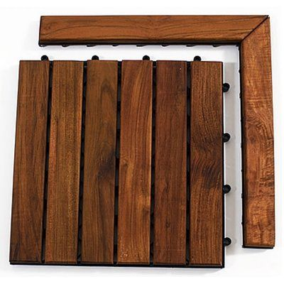 Infinita Corporation Le Click Teak Corner Pieces with Pin in Oiled Finish