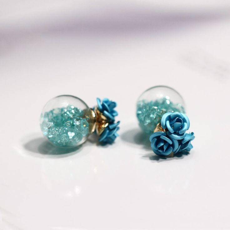 Rose Glass Crystal Ball Earring