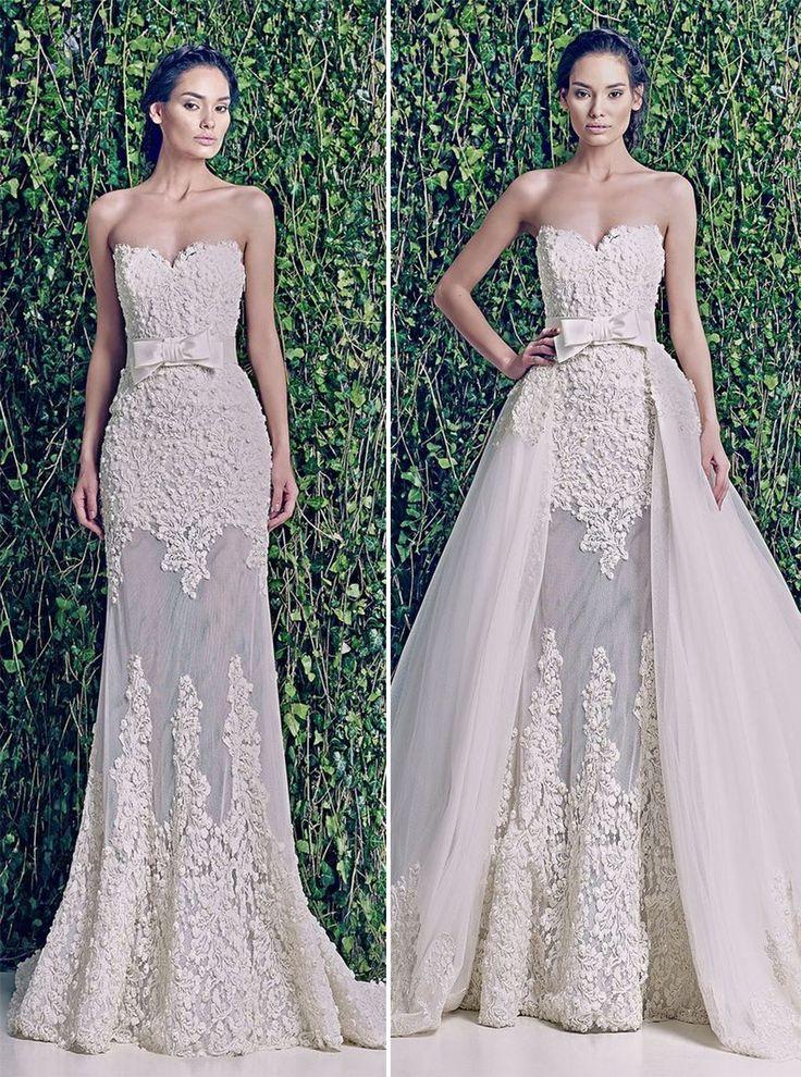 Sobre saias são tendência na moda noiva, com ela a noiva consegue dois visuais em um mesmo vestido. Um visual mais glamouroso na cerimônia religiosa e