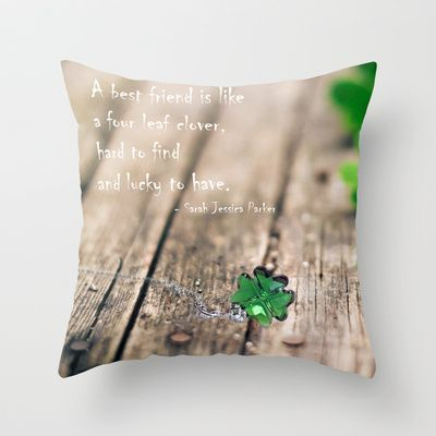 FOUR LEAF CLOVER / GREEN  Throw Pillow by Katherine Song  - $20.00