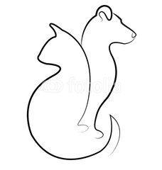 Desenho Vasado de Silghueta de Gato-Cachorro