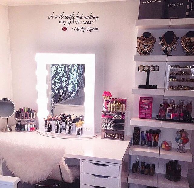 I love this makeup vanity with the floating shelves.