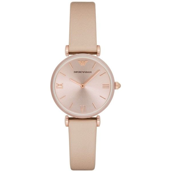Emporio Armani Women's Nude Leather Strap Watch 32mm AR11001 ($295) ❤ liked on Polyvore featuring jewelry, watches, nude, emporio armani jewelry, emporio armani, dial watches, nude jewelry and emporio armani watches
