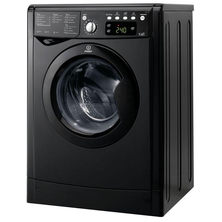 Indesit IWDE7145K(UK) Black Freestanding Washer Dryer | Departments | DIY at B&Q