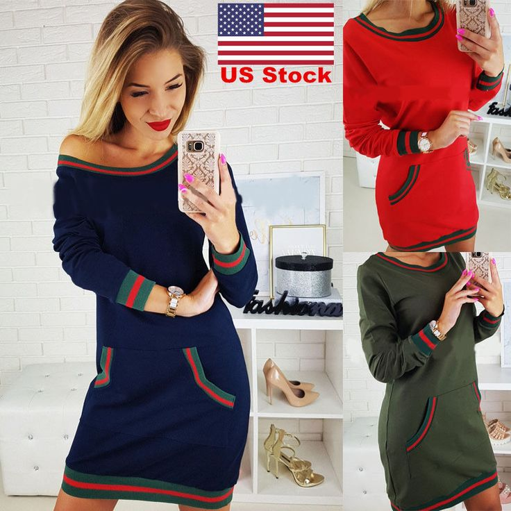 Awesome Great US Ladies Jumper Dress Womens Oversized Stripes Chunky Knitted Long Top Sweater 2017/2018