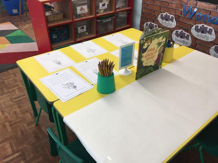 Literacy table - anna hibiscus' song & superhero writing